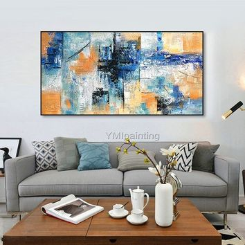 Abstract oil painting blue yellow color painting on canvas huge size acrylic Painting Wall Art Pictures for living room home decor caudros
