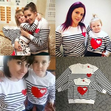 DCCKWQA 2016 cotton t-shirt striped mother mommy and me daughter father baby clothes matching family clothing sets family look