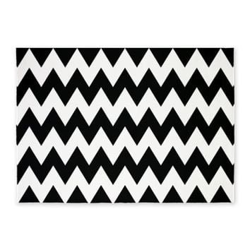 Black And White Chevron Zig Zag 5'X7'area Rug by RugMania