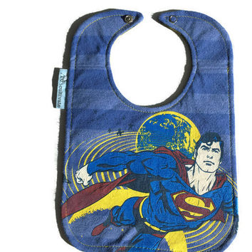 Superman Baby Bib Superhero Bib Upcycled T-shirt Bib