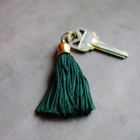 Emerald Green Tassel Keychain // Boho Key Chain // Tassel Keychains // Key Chains Handmade Gifts // Handmade Keychains K010 by Indigo Lunch