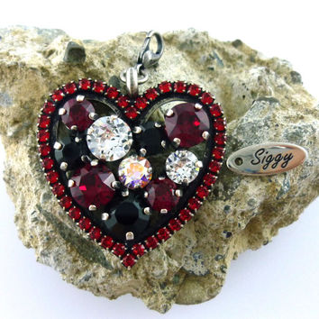 Swarovski crystal detachable heart pendant, red and black, Valentines day gift, clips on and off,  antique silver, siggy bling