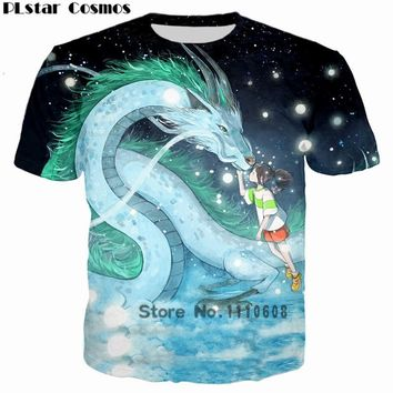 PLstar Cosmos Classic Anime Spirited Away Dragon & Girl 3D Printed T-shirt Casual Hip hop tshirt Women Men t shirt Tops harajuku