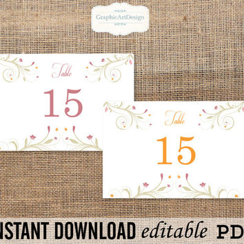 Floral Ornaments 4x6  Wedding Table Number Card Template Printable PDF Template - Editable PDF Text (Fonts, Colors, Size) - Instant Download