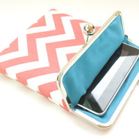 Coral Chevron iPad Case or Sleeve with Kisslock Frame - iPad Case or Clutch - Notebook Clutch - Coral and Blue Chevron Print