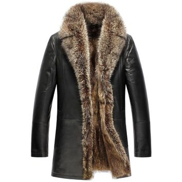Men's Raccoon Fur Leather Shearling Coat