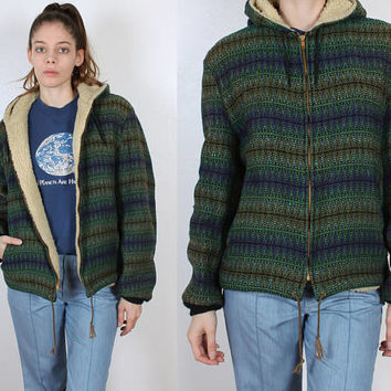 70s Striped Shearling Coat // Vintage Hooded Zig Zag Tribal Pattern Wool Mens Womens - Medium