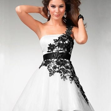 Hot Sale Custom Made Popular Fashion Black and White Lace Short Prom Dresses 2014 One Shoulder = 1956898436