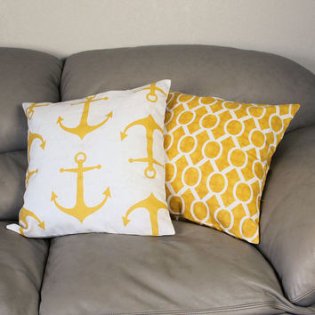 Set of TWO Gold Nautical Decorative Throw Pillows with Anchors or Geometric Design, Your Choice- Gold and White