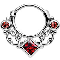"""16 Gauge 3/8"""" Red Cubic Zirconia Lahori Palace Septum Clicker   Body Candy Body Jewelry"""