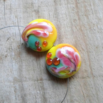 Lampwork Beads, Bright Summer Fashion Glass Beads, Handmade Jewelry Supplies, Pair of Pressed Lentil Beads