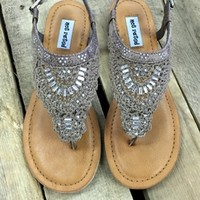 sandals with crochet top and crystal accents.