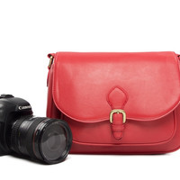 Fashion Red Leather DSLR Camera Bag PU Leather Camera SLR Camera Bag Shoulder Bag 117