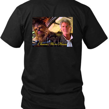 Star Wars The Force Awakens Chewie Were Home Han Solo Cover 2 Sided Black Mens T Shirt