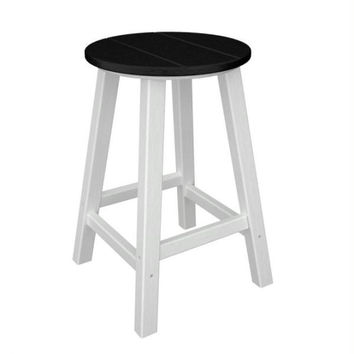 2 Bar Stools - Black Seat And White Legs