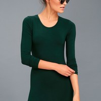 Obey Easton Forest Green Long Sleeve Bodycon Dress