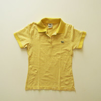 Vintage Lacoste Polo - Short Sleeve Striped Yellow Tennis Polo Shirt - Womens small or youth medium