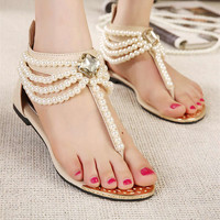 Fashion Summer Casual Comfortable Pearl Sandals for Women
