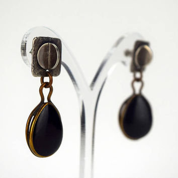 Marjorie Baer Pierced Earrings, Modern Style Mixed Material Earrings, Signed MB SF, Studio Jewelry