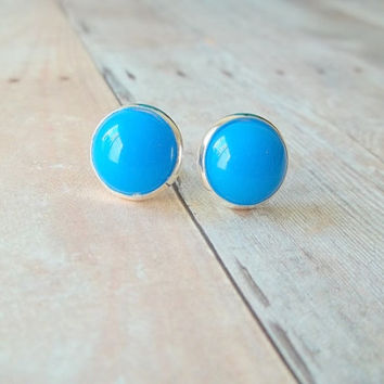 B L U E - Bright Colbalt Ocean Sea Blue Color Cab Circle Silver Plated Post Stud Earrings