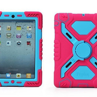 Ipad 2/3/4/5/6 Air1 Air2 Case Plastic Kid Proof Extreme Duty Dual Protective Back Cover with Kickstand and Sticker for Ipad mini 1/2/3 1/pcs