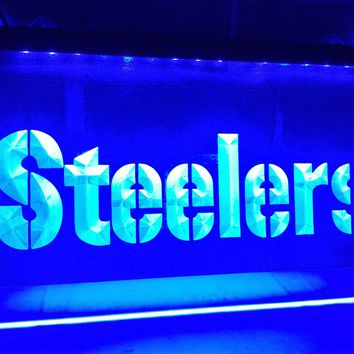 LA145- Pittsburgh Steelers Logo Bar   LED Neon Light Sign     home decor  crafts