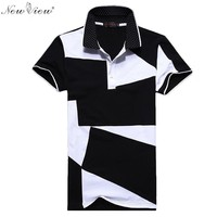 2017 Men Brand Clothing Camisa Polo Masculina Summer Polos Homme Shirt Stitching Casual Shirts Mens Lapel Tops Tees Plus Size