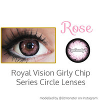 Royal Vision Girly Chip Rose Pink Colored Contacts Circle Lenses Cosmetic Contact Lens | EyeCandy's