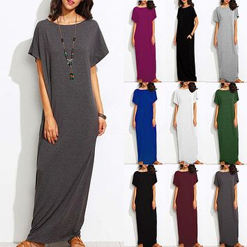 Fashion Women Short Sleeve Round Neck Casual Solid Plus Long Maxi Dress Kaftan
