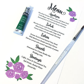 "Watercolor Wedding Menu - Entree Card Napkin Insert Menu ""Watercolor Roses"" Purple Wedding Reception Card Dinner Menu Card - Reception Menu"