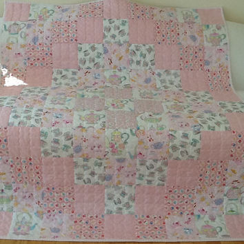 Shabby Chic Tea Party, Teapots, Teacups, Large Lap Quilt, Throw, Handmade Quilt 53 x 64 inches Free Shipping Canada and USA