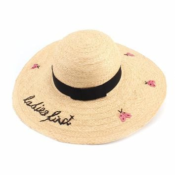 Fashion Letter Ladybug Embroidery Sun Hats For Women Wide Brim Bow Sun Bech Hat Pamelas Sombreros Paja
