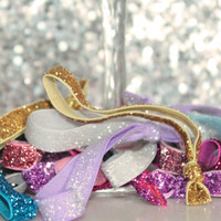 Glitter Hair ties. Glitter Elastic Hairties. Elastic Hairtie set. Mix of Elastic Hairties. Glitter Elastic. Large Mix of HairTies.