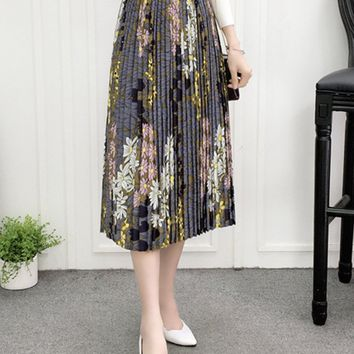 Streetstyle  Casual Elastic Waist Pleated Maxi Skirt In Floral Printed