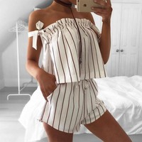 Summer Women's Fashion Sexy Spaghetti Strap Stripes Shorts Bottom & Top