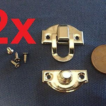2 Sets  ----- Chest Box Trunk  Trinket Tool Latch Clasp Chrome Toggle Latch c9