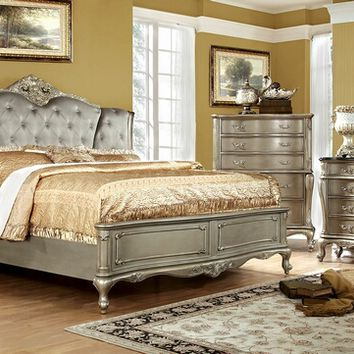 5 pc Johara collection transitional style gold finish wood tufted and padded queen bedroom set