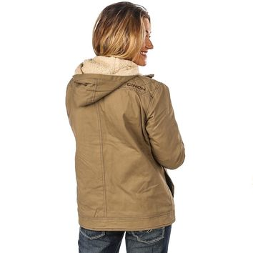 Women's Cinch Beige Sherpa Lined Canvas Jacket