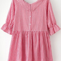 Red Bow Collar Plaid Loose Fitting Dress