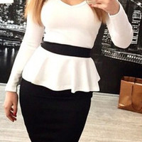 White and Black V-Neck Flounce Bodycon Dress