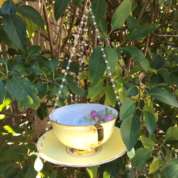 Vintage Tea Cup Bird Feeder, Mini Hanging Planter, Garden Accent, Candle Holder, Home Decor, Recycled Ceramic Craft, Repurposed Upcycled Art