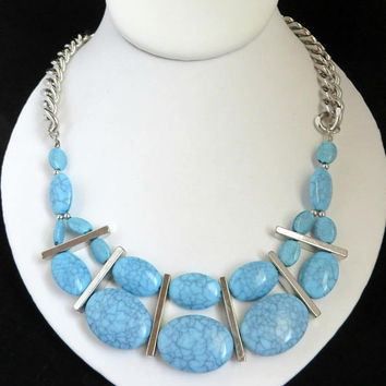Blue Stone Bib Necklace, Silver Tone Chain Link Graduated Mottled Blue Bead Necklace