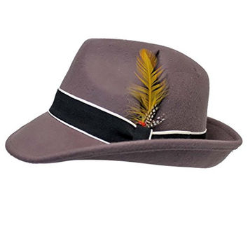 Luxury Divas Gray Classic Wool Fedora Hat With Feather Band