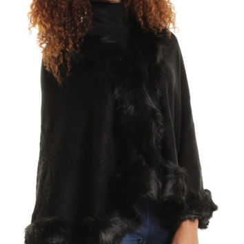 Black Fur Trimmed Cape