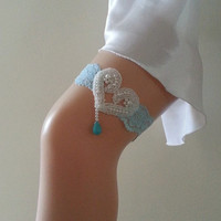 Free ship Turquoise stone pearl heart wedding garter ivory something blue lace luck  bridal garter belt prom party bridesmaid gift bride