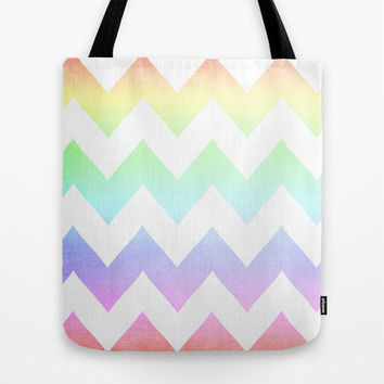 Watercolor Chevrons Tote Bag by CMcDonald