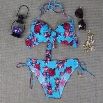 Floral Push Up Ethnic Halter Bikini Set Swimwear