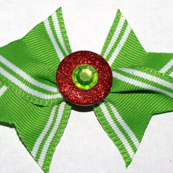 Lime green and red sprakly Christmas bow- holiday hair clip- girls hair accessories