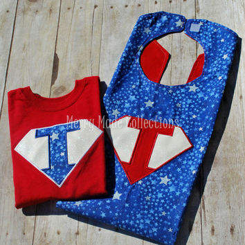 Superhero Cape and Shirt - Appliqued and Personalized Set