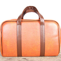 Small Suitcase / Suitcases Luggage / Vintage Shoulder Bag / Orange Bags and Purses / Brown Leather Bag / Vintage Tote Bag / Orange Luggage